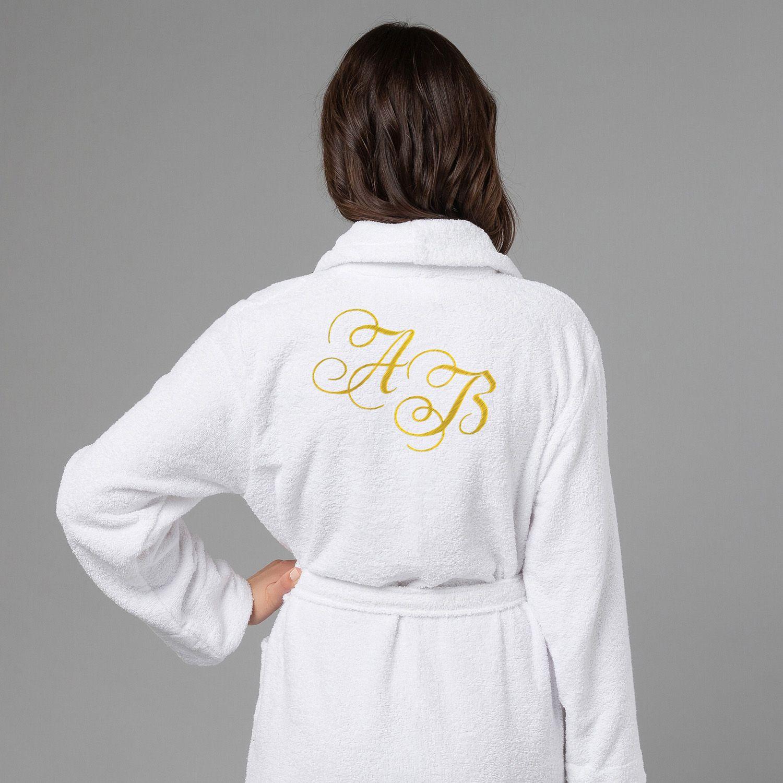 Женский халат с вышивкой Инициалы (белый)