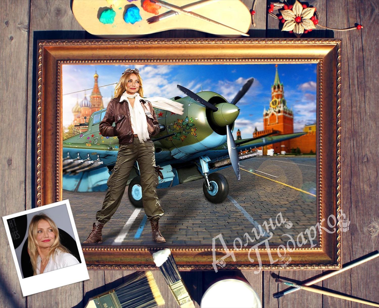 Портрет по фото *Девушка и самолёт*