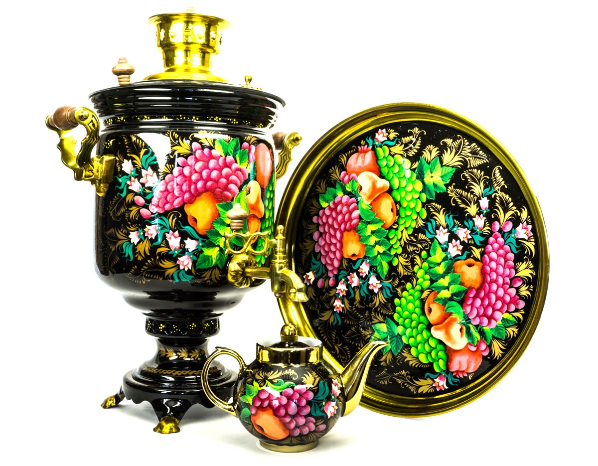 Дровяной самовар с ручной росписью