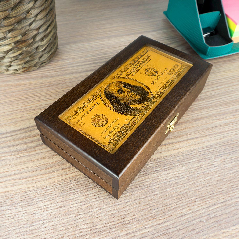 Купюрница 100 долларов с гравировкой