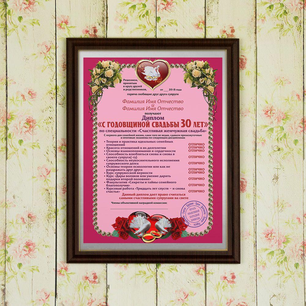 Подарочный диплом (плакетка) *С годовщиной свадьбы 30 лет*