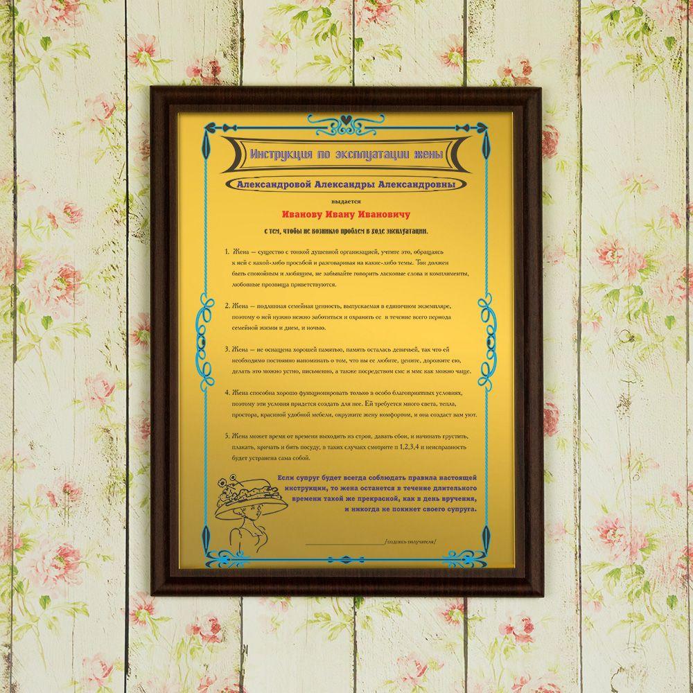 Подарочный диплом (плакетка) *Инструкция по эксплуатации жены*
