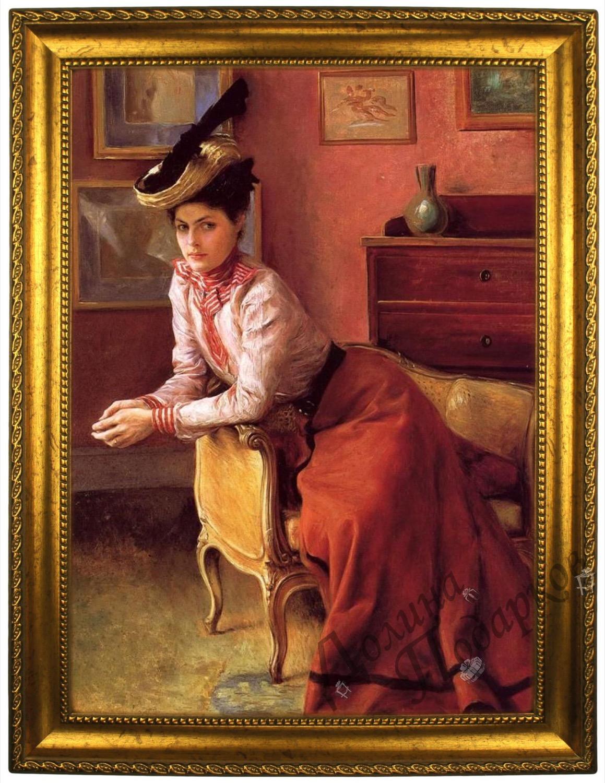 Портрет по фото *В шляпе и красном платье*