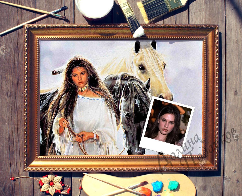 Портрет по фото *Девушка с лошадьми*