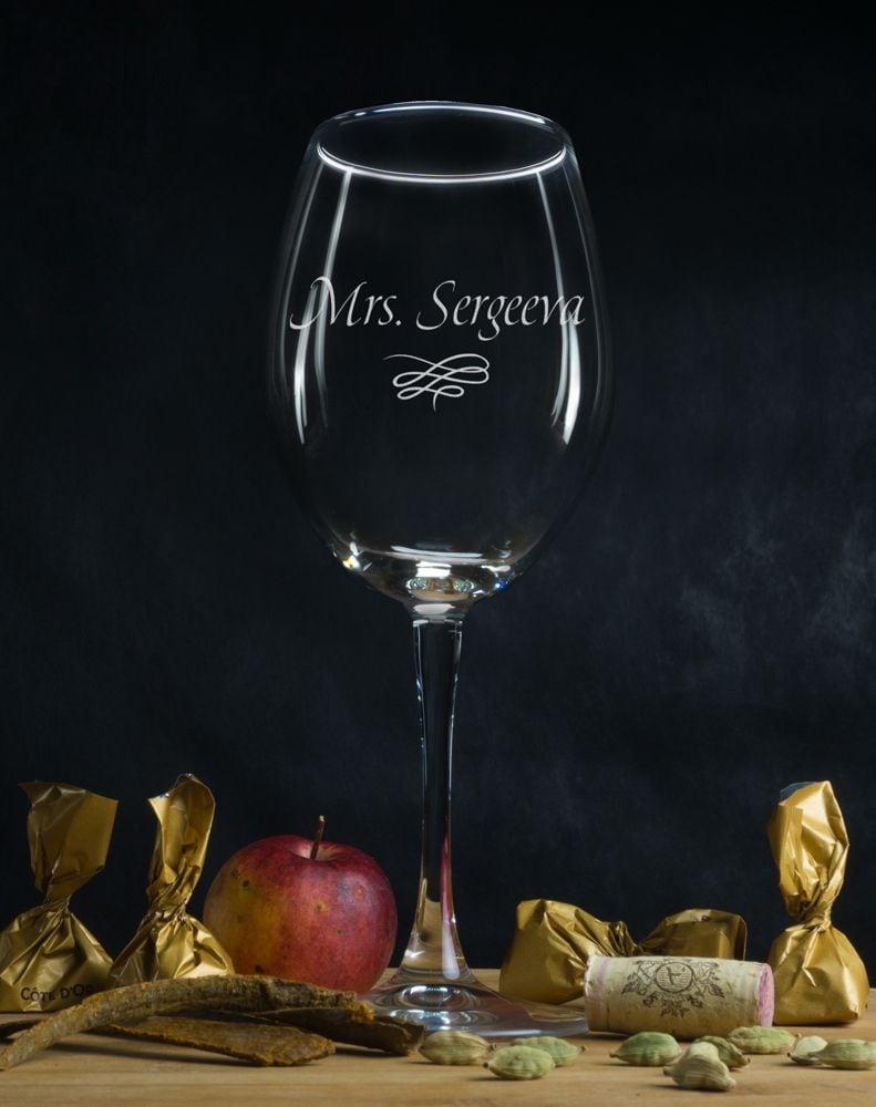 Именной бокал для вина Миссис