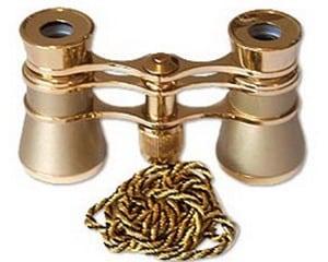 Театральный бинокль (золотистый) на шнурке