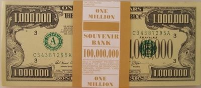 Забавная пачка денег - 1 млн. долларов