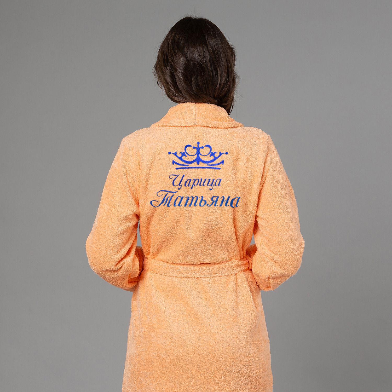 Женский халат с вышивкой Царица (персик)