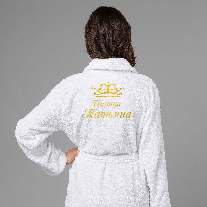 Женский халат с вышивкой Царица (белый)