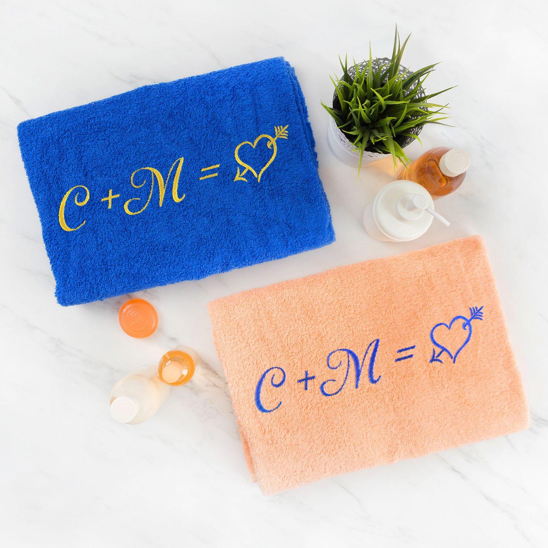Комплект полотенец с вышивкой «Инициалы» (цветные)