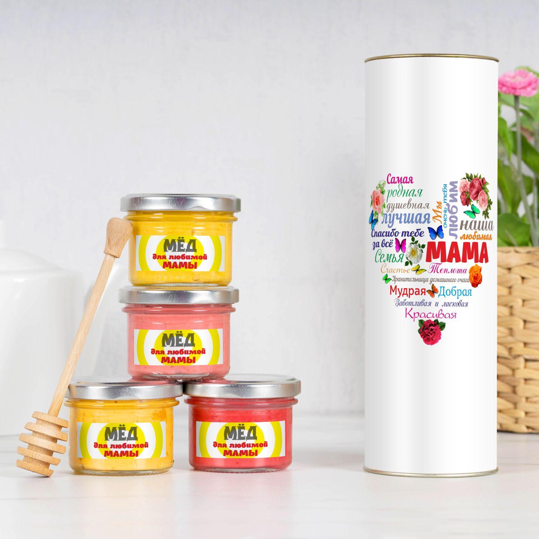 Набор мёда «Сердце из слов МАМЕ»