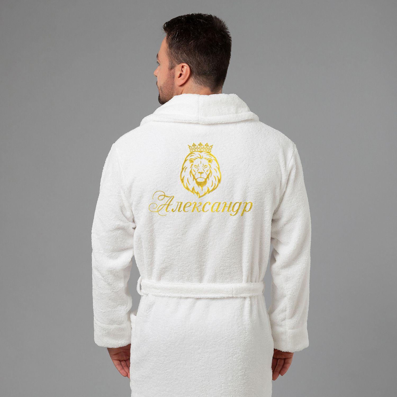 Мужской халат с вышивкой Лев (белый)