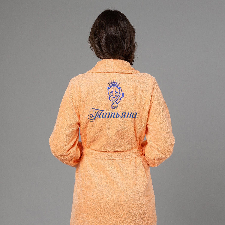 Женский халат с вышивкой Львица (Персик)